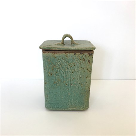 "Richard Winslow | Square Pot with Lid | Ceramic | 7.25"" X 5"" 