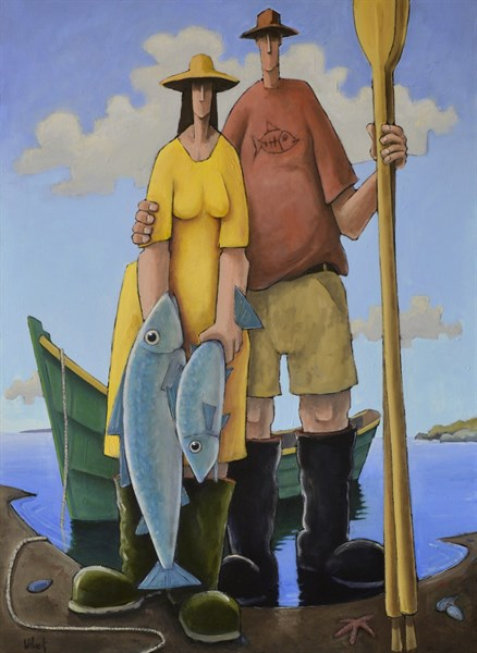 "David Witbeck | A Fine Catch | Oil on Canvas | 45"" X 33"" 