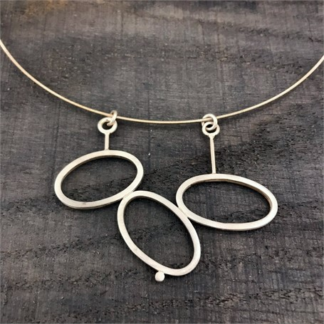 Sterling Silver Necklace: 3 Square Stock Ovals