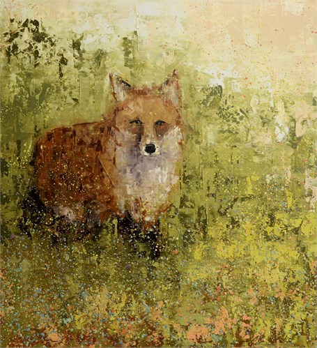 "Rebecca Kinkead | Red Fox, Green Field | Oil and Wax on Linen | 36"" X 33"" 