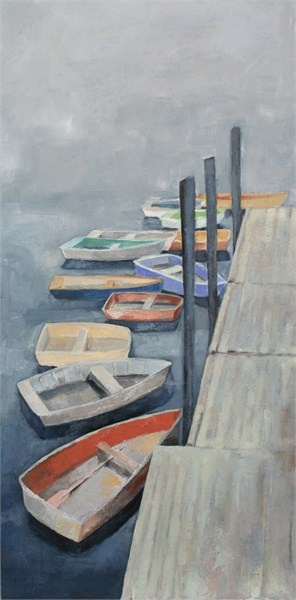 "Ellen Welch Granter | Pier 77 | Oil on Canvas | 36"" X 12"" 