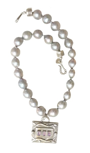 Necklace - Sterling Silver Pendant With Lilac Chalcedony & Large Grey Fresh Water Pearl RW216