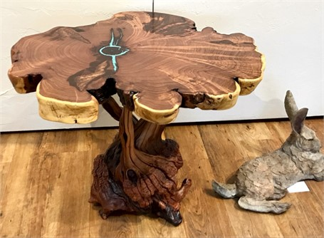 Mesquite End Table with Turq & Copper Inlay and Manzanita Root Burl