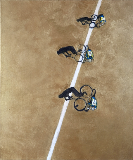 Three Cyclists with Shadows