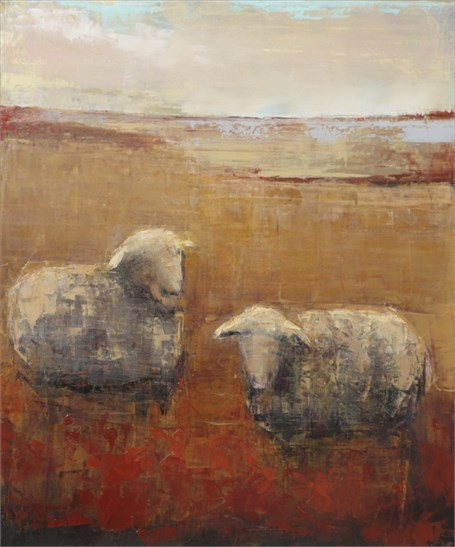 "Rebecca Kinkead | Sheep (September) | Oil and Wax on Linen | 36"" X 30"" 