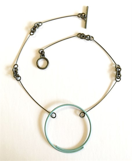 Necklace: Pale Blue Circle on Handmade Chain