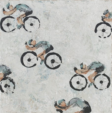 #464 Cyclists on Textured White Background