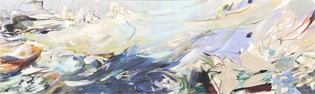 "Jeffrey T. Fitzgerald | Happy Wife | Acrylic on Linen | 12"" X 40"" 