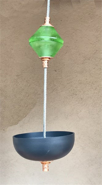 Hanging Bird Feeder/Planter - Bottle Green Cast Glass