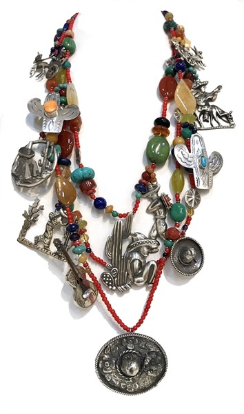 KY1266 Three Strand Necklace Vintage Mexican Sterling, 40's-60's Charms