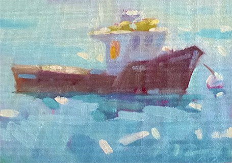 "Daniel J. Corey | In the Harbor | Oil | 5"" X 7"" 