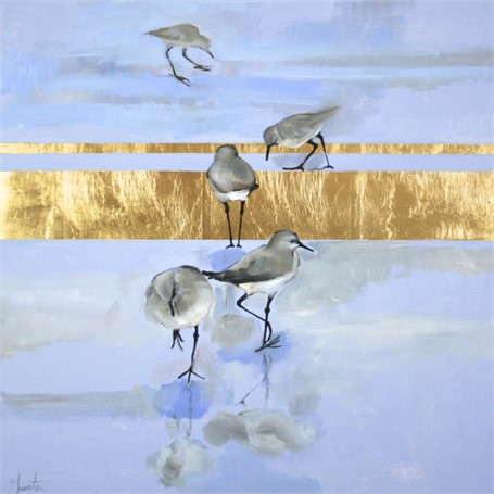 "Ellen Welch Granter | Beginning | Oil and Gold Leaf on Panel | 20"" X 20"" 