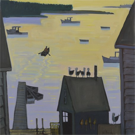 "David Witbeck | Sunrise Harbor | Oil on Canvas | 30"" X 30"" 
