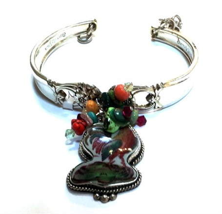 Bracelet - Vintage Silver Spoon with Rooster Theme