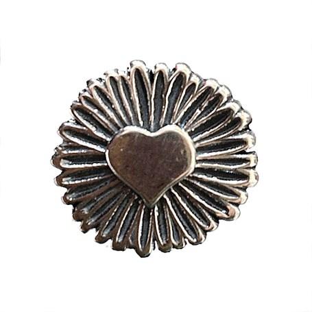Pendant - Silver Heart & Flower (2221)
