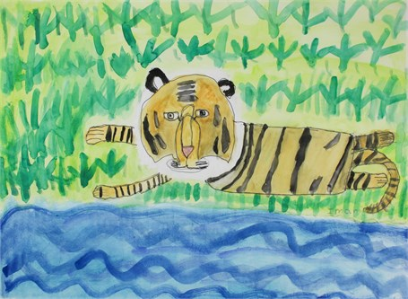 Tiger Goes Swimming