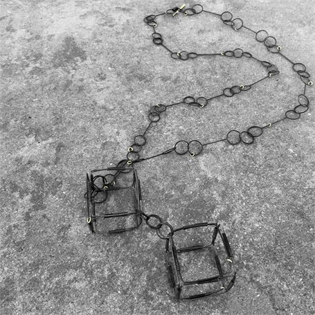 Steel Necklace: Squares, Steel and Gold