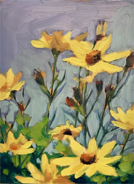 "Margaret Gerding | Day 3 (Coreopsis) | Oil on Panel | 8"" X 6"" 