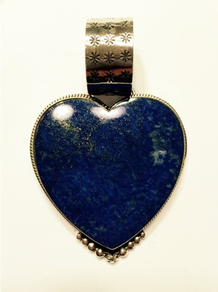 Pendant - Large Lapis Heart with Silver Beading