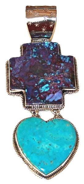 Pendant - Sterling Silver Double Mohave Turquoise Cross & Turquoise Heart 1576