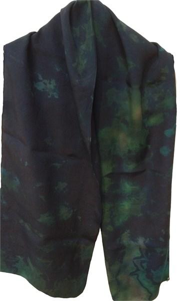 Scarf-Green/turq Reverse Shibori Crepe#117
