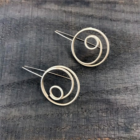 Sterling Silver Earrings: Large Circle in Circle