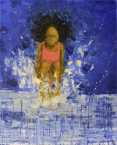 "Rebecca Kinkead | Cannonball (Shining Water) | Oil and Wax on Linen | 60"" X 48"" 