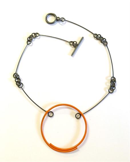 Necklace: Orange Circle on Handmade Chain