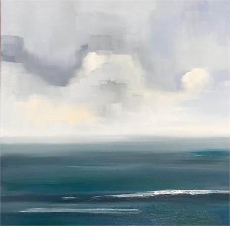 "Jill Matthews   Surf and Rain   Oil on Canvas   24"" X 24""   Sold"