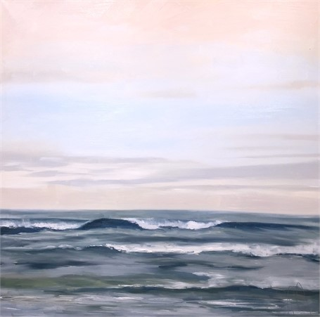 """Jill Matthews   Pink Sky December   Oil on Canvas   36"""" X 36""""   Sold"""