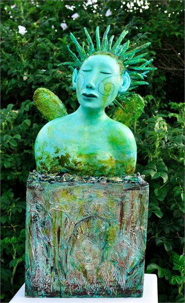 "Elizabeth Ostrander | Green Fairy Magic | Acrylic & Mixed Media on Ceramic & Wooden Box | 29"" X 13"" 
