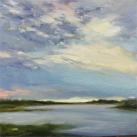 "Margaret Gerding | Morning Light-Day 16 | Oil on Panel | 8"" X 8"" 