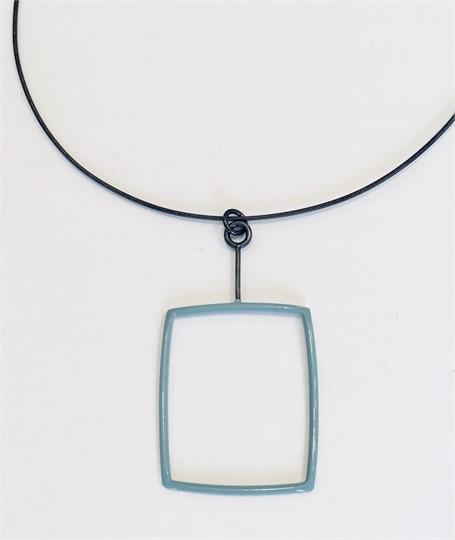 Necklace: Pale Blue Rectangle