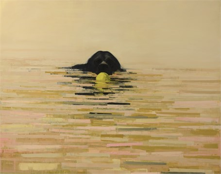 "Rebecca Kinkead | Fetch (Sunrise) | Oil and Wax on Linen | 48"" X 60"" 