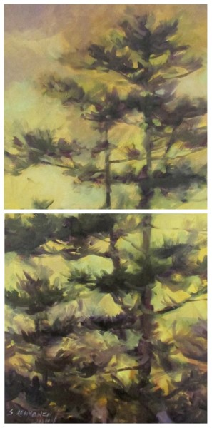 "Sandra L. Dunn | Golden Sky and Pine | Oil | 36"" X 18"" 