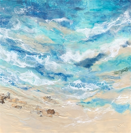 "Kathy Ostrander Roberts | Washed Ashore | Encaustic on Panel | 36"" X 36"" 