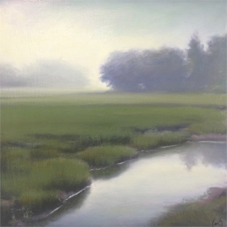 "Margaret Gerding | Marsh in Fog IV | Oil on Panel | 16"" X 16"" 