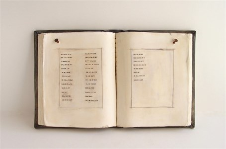 "Abby Huntoon | Book of Lists | Fired Clay | 11"" X 18"" 