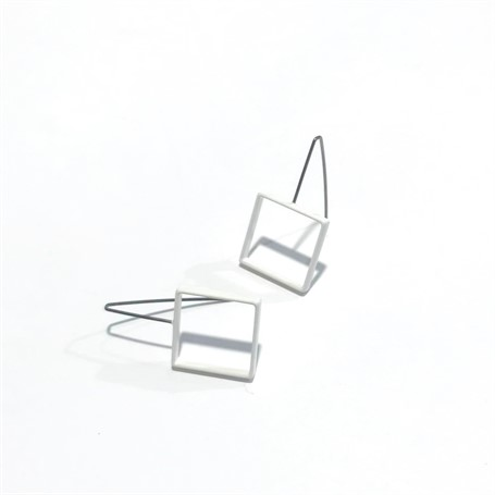 Powder Coated Earrings: Sterling Silver Medium Square in White