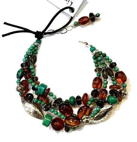 KY 1264 Bracelet - Turquoise, Amber and Smokey Topaz with Sterling Silver
