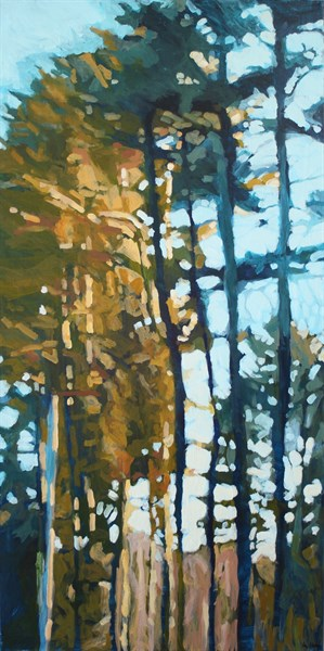 "Liz Hoag | Sunset Through the Trees | Acrylic | 48"" X 24"" 
