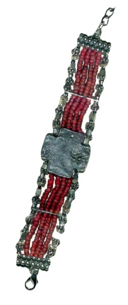 Bracelet - Silver Hopi Morning Star Glass & Pewter Red African Trade Beads