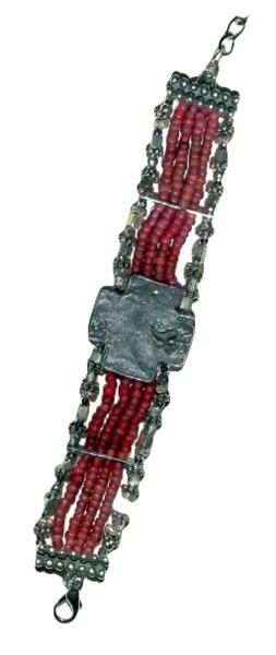 Bracelet - Silver Hopi Morning Star Glass & Pewter Red African Trade Beads