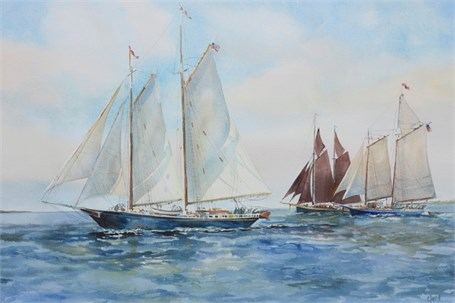 "Carol Sebold | Schooner Days | Watercolor | 26"" X 34"" 