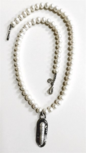 Necklace - Sterling Silver With Fresh Water Pearl On Akoya Pearls RW 217