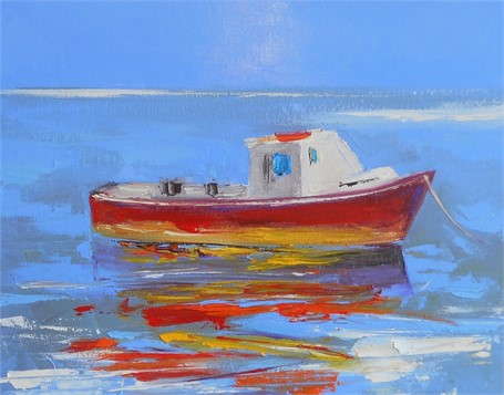 "Janis H. Sanders | Red Boat | Oil on Canvas | 11"" X 14"" 