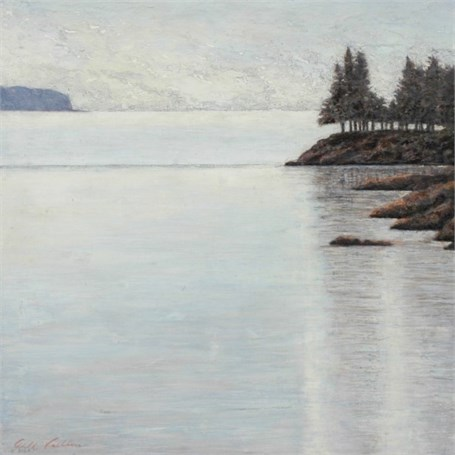 "Jill Valliere | Sheltered Cove | Plaster, Metal Leaf and Glaze | 24"" X 24"" 