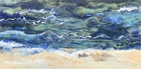 "Kathy Ostrander Roberts | Off Cape Arundel | Encaustic on Panel | 18"" X 36"" 