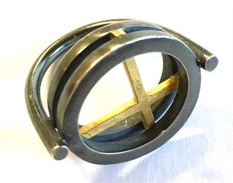 Ring: Double Layer 18 Kt Gold/Sterling with iIntersecting Lines