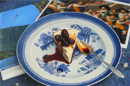 "William B. Hoyt | Greek Yogurt Pie with Grapes & Black Pepper Compote | Oil | 10"" X 15"" 